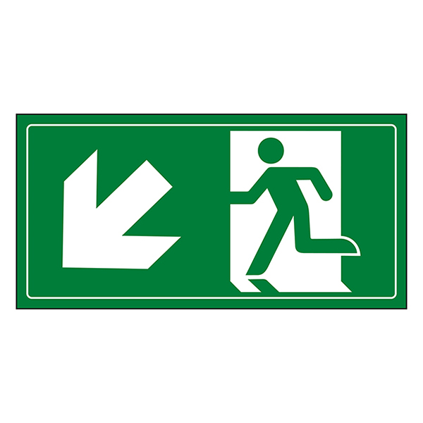Fire Exit Man Running Down Left