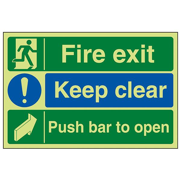 GITD Fire Exit / Keep Clear / Push Bar To Open