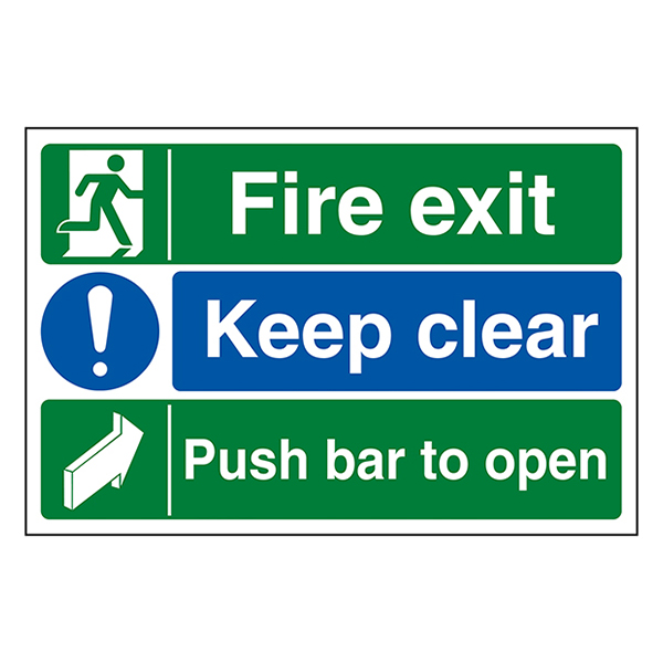 Fire Exit / Keep Clear / Push Bar To Open