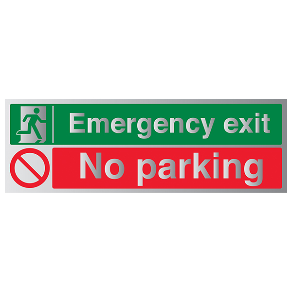 Emergency Exit / No Parking - Aluminium Effect