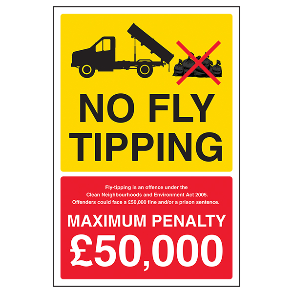 No Fly Tipping / Fly Tipping Is An Offence / Max Penalty £50,000