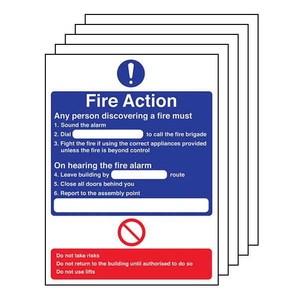 5-Pack Fire Action - Any Person Discovering A Fire