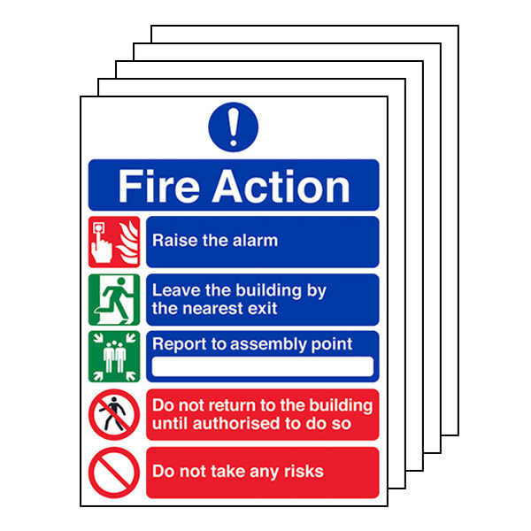 5-Pack 5 Point Fire Action Notice/Do Not Take Risks