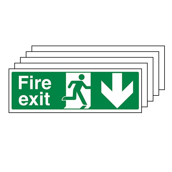 5-Pack Fire Exit Arrow Down