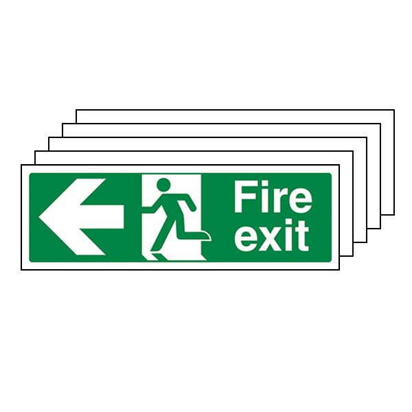5-Pack Fire Exit Arrow Left