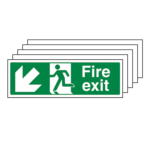 5-Pack Fire Exit Arrow Down Left
