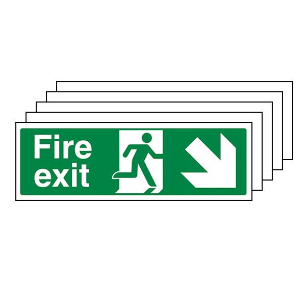 5-Pack GITD Fire Exit Arrow Down Right
