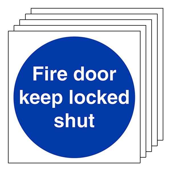 5-Pack Fire Door Keep Locked Shut