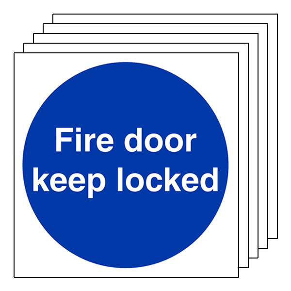 5-Pack Fire Door Keep Locked