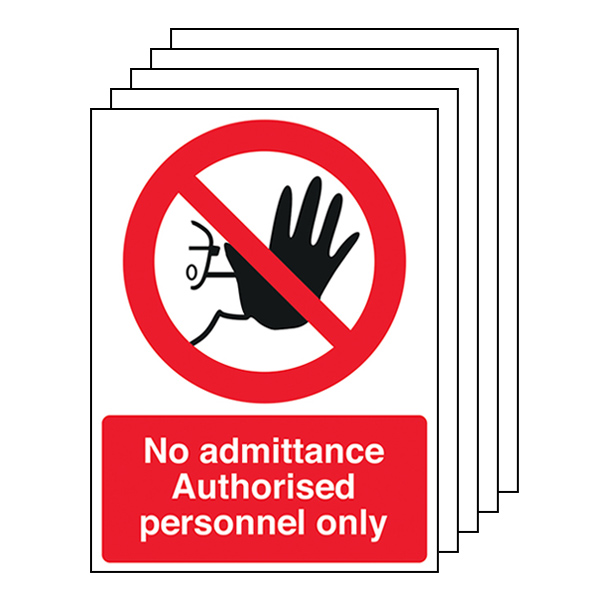 5-Pack Authorised Personnel Only - Portrait