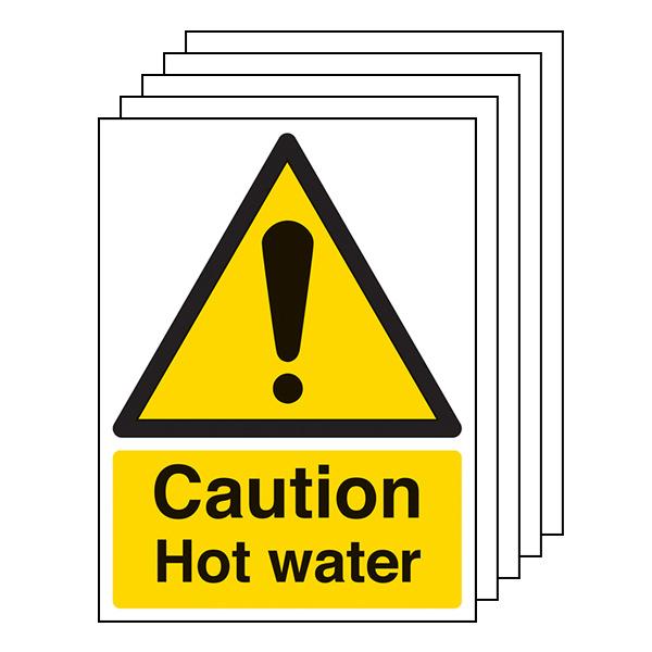 5-Pack Caution Hot Water - Portrait