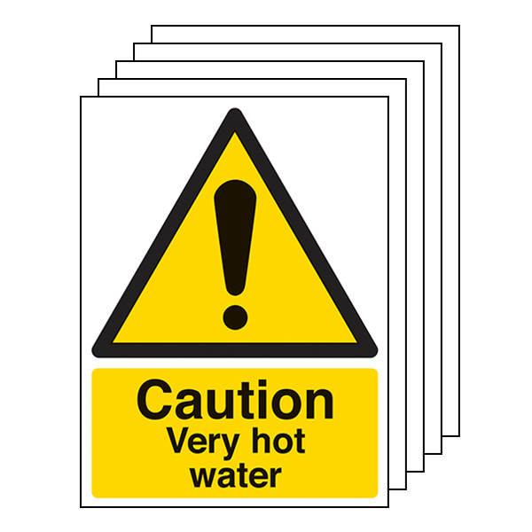 5-Pack Caution Very Hot Water - Portrait