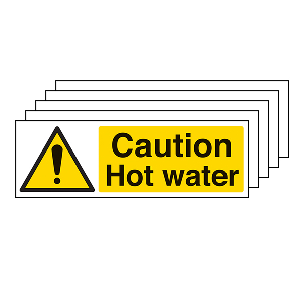 5-Pack Caution Hot Water - Landscape