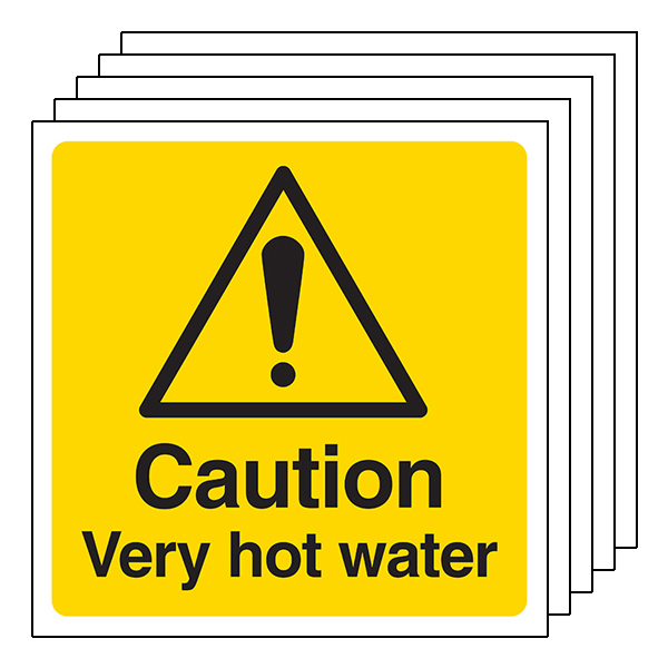 5-Pack Caution Very Hot Water - Square