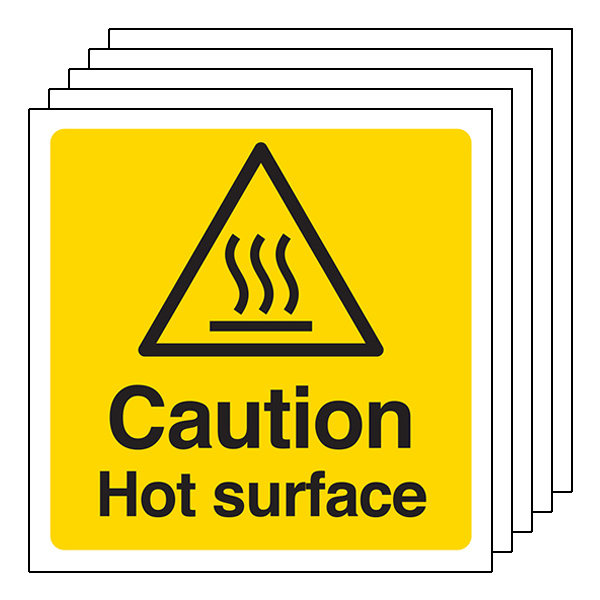 5-Pack Caution Hot Surface - Square