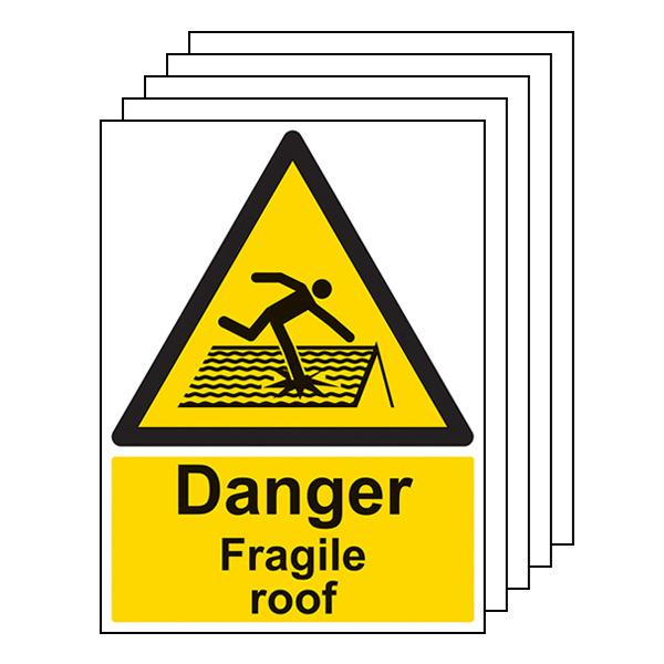 5-Pack Danger Fragile Roof - Portrait