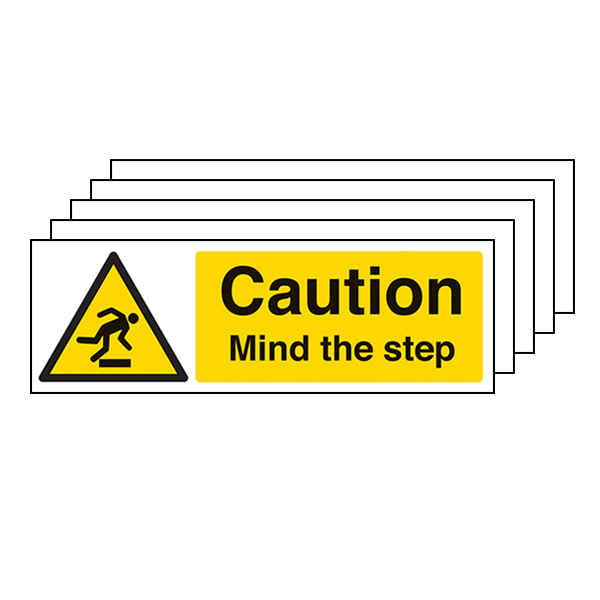 5-Pack Caution Mind The Step - Landscape