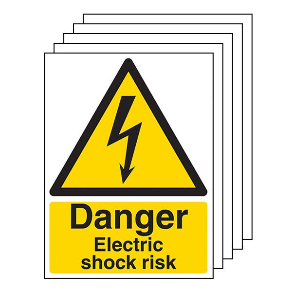 5-Pack Danger Electric Shock Risk - Portrait