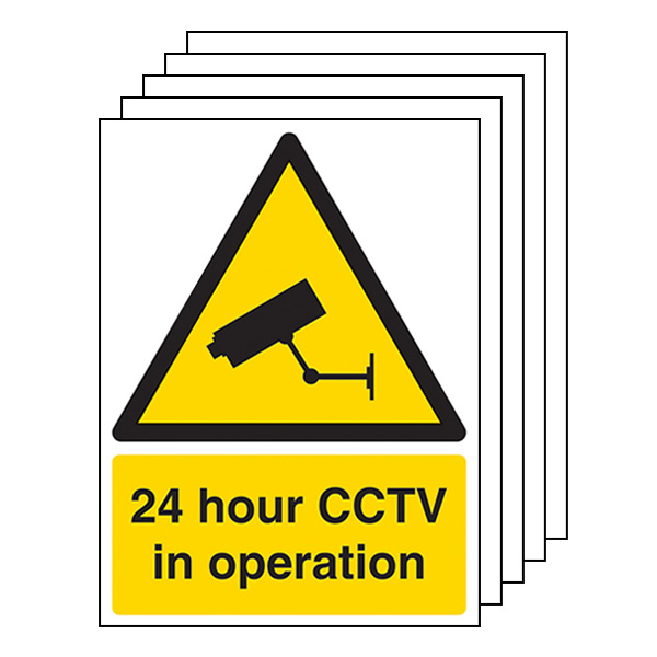 5-Pack 24 Hour CCTV In Operation - Portrait