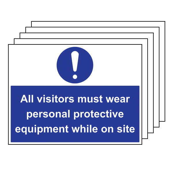 5PK - All Visitors Must Wear PPE - Large Landscape