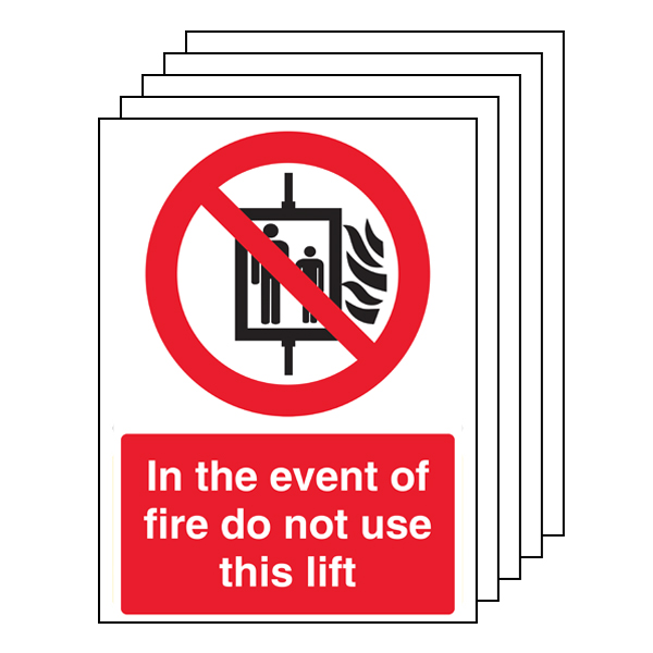 5PK - In The Event Of Fire Do Not Use This Lift - Portrait