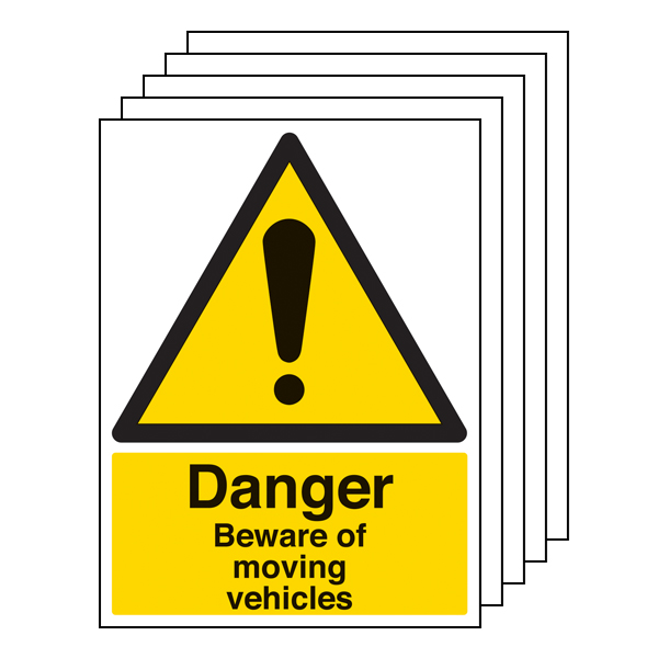 5PK - Danger Beware Of Moving Vehicles