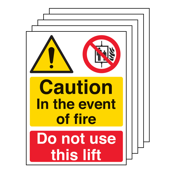 5PK - Caution In The Event Of Fire Do Not Use This Lift - Portrait