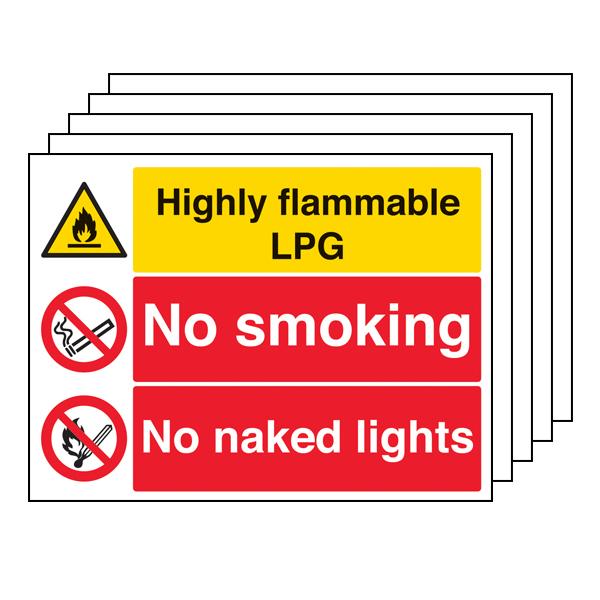 5PK - Highly Flammable LPG/No Smoking/Naked Lights