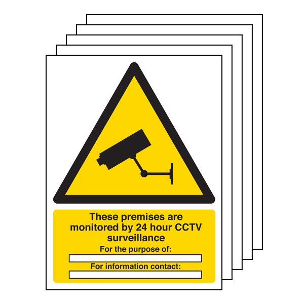 5PK - These Premises Are Monitored By 24 Hour CCTV - Portrait