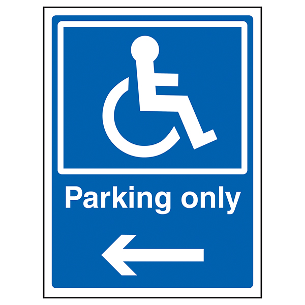 Disabled Parking Only Arrow Left