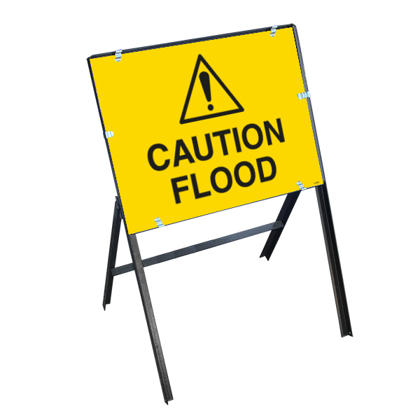 Caution Flood with Stanchion Frame