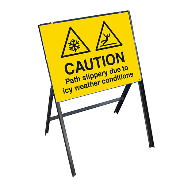 Caution Path Slippery Due To Icy Weather Conditions with Stanchion Frame