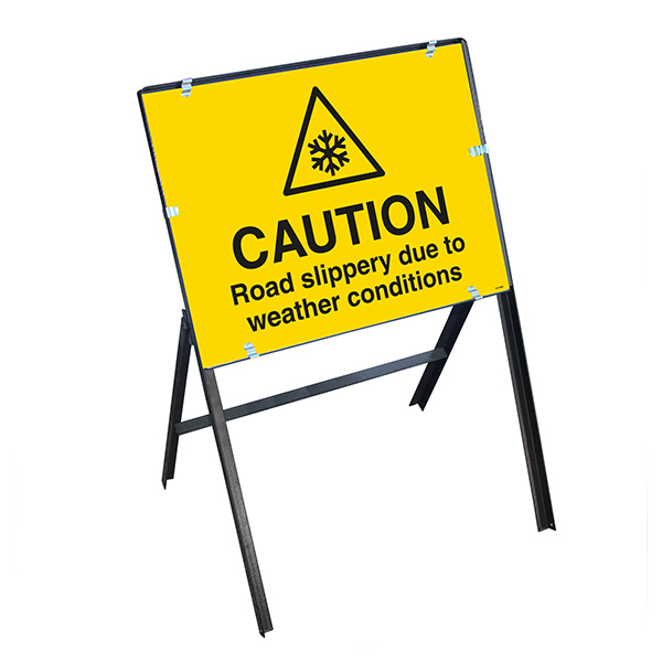 Caution Road Slippery Due To Weather Conditions with Stanchion Frame