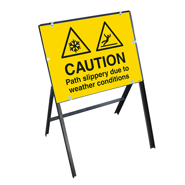 Caution Path Slippery Due To Weather Conditions with Stanchion Frame
