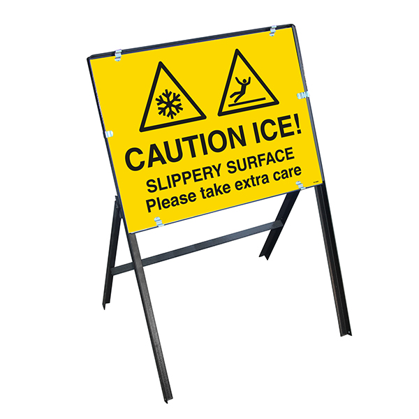 Caution Ice! Slippery Surface Please Take Extra Care with Stanchion Frame