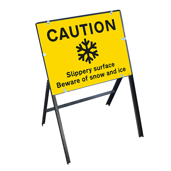 Caution Slippery Surface Beware Of Snow and Ice with Stanchion Frame