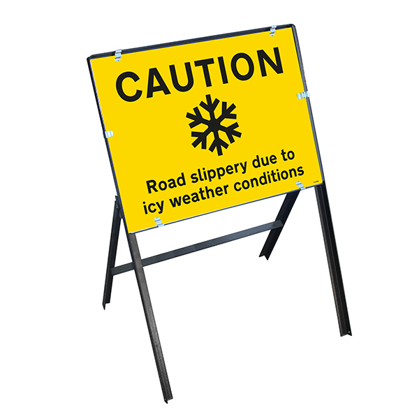 Caution Road Slippery...Icy Weather Conditions with Stanchion Frame