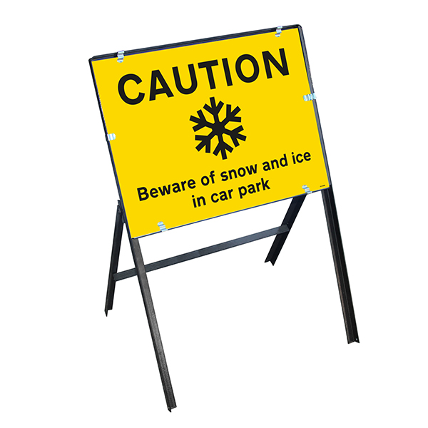 Caution Beware Of Snow and Ice In Car Park with Stanchion Frame