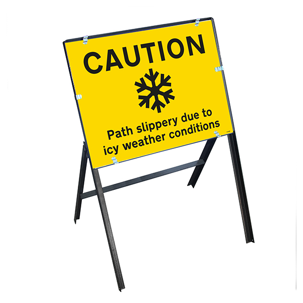 Caution Path Slippery...Icy Weather Conditions with Stanchion Frame