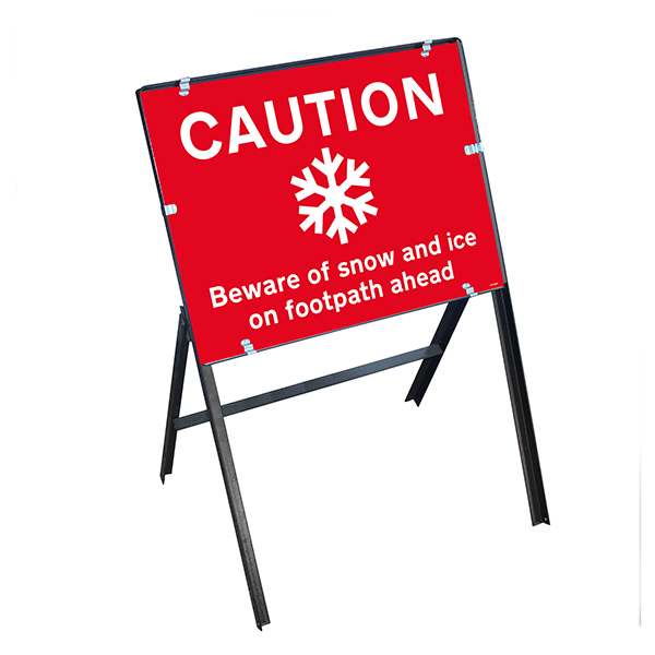 Caution Beware Of Snow and Ice On Footpath Ahead with Stanchion Frame