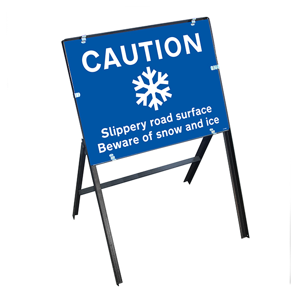 Caution Slippery Road Surface...Snow and Ice with Stanchion Frame