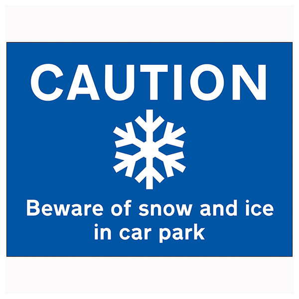 Caution Beware Of Snow and Ice In Car Park - Large Landscape