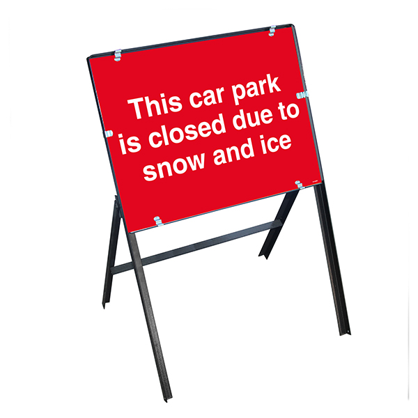This Car Park Is Closed Due To Snow and Ice with Stanchion Frame