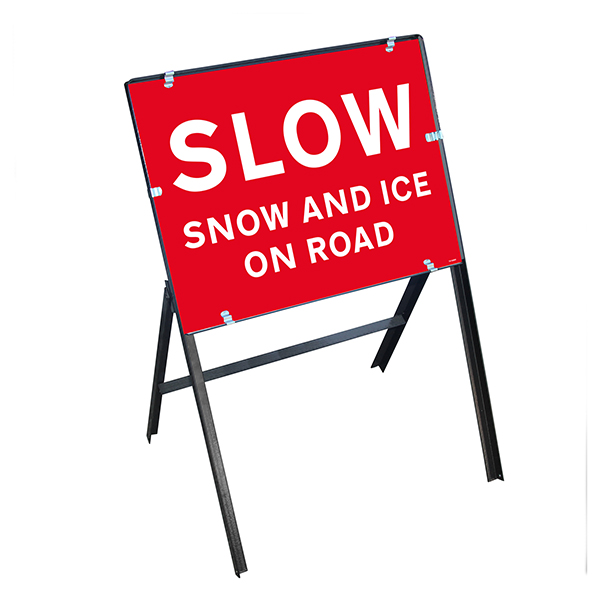 Slow Snow and Ice On Road with Stanchion Frame