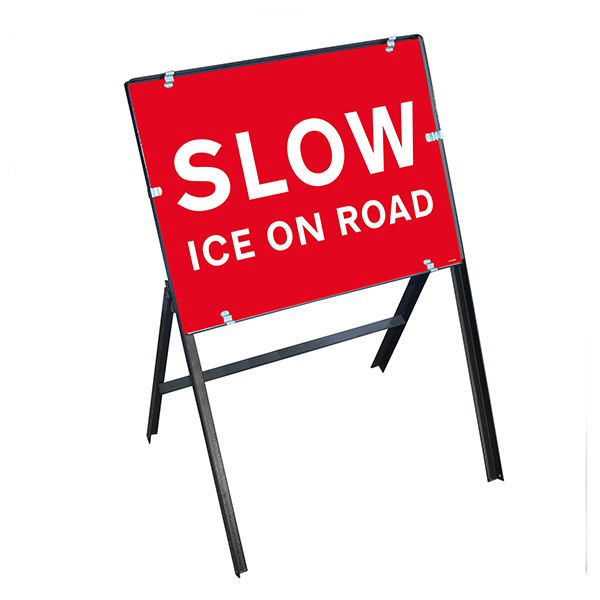 Slow Ice On Road with Stanchion Frame