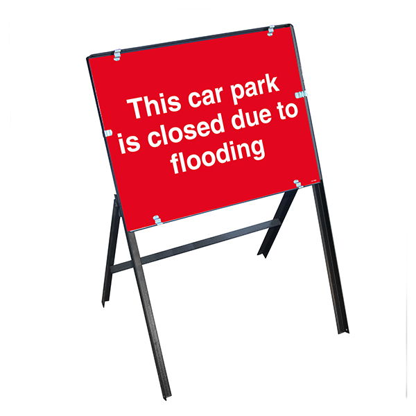 This Car Park Is Closed Due To Flooding with Stanchion Frame