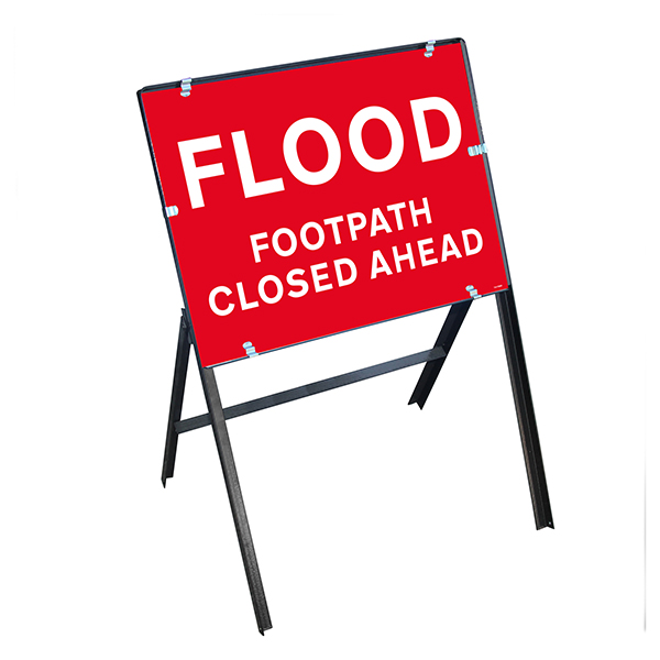 Flood / Footpath Closed Ahead with Stanchion Frame