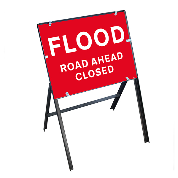 Flood / Road Ahead Closed with Stanchion Frame