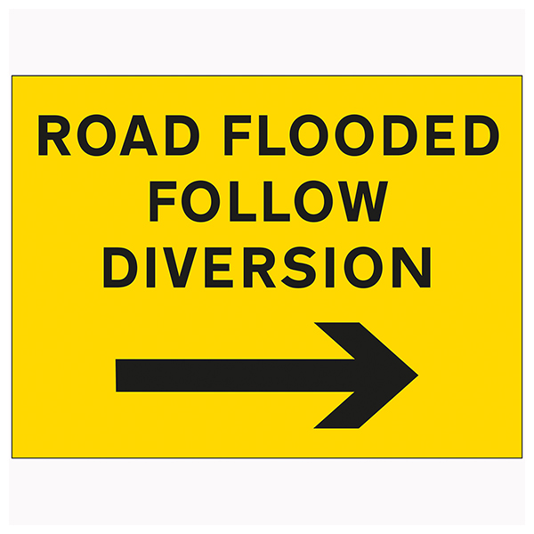 Road Flooded Follow Diversion Arrow Right