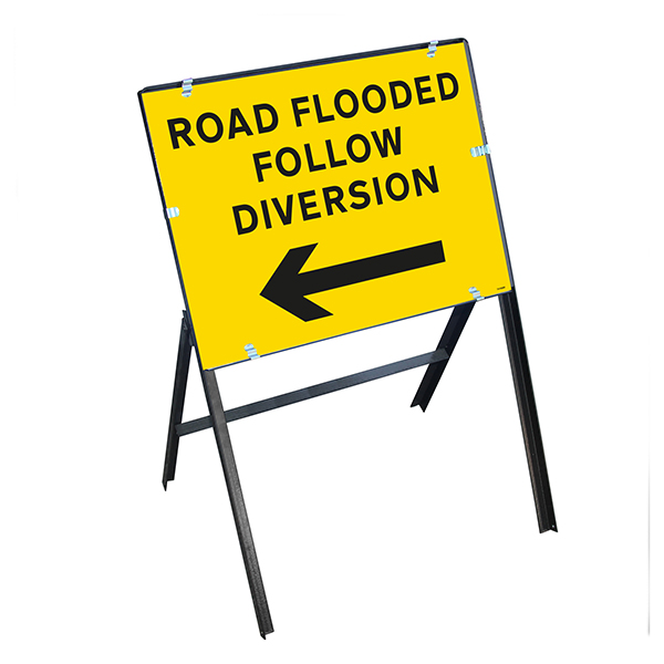 Road Flooded Follow Diversion Arrow Left with Stanchion Frame